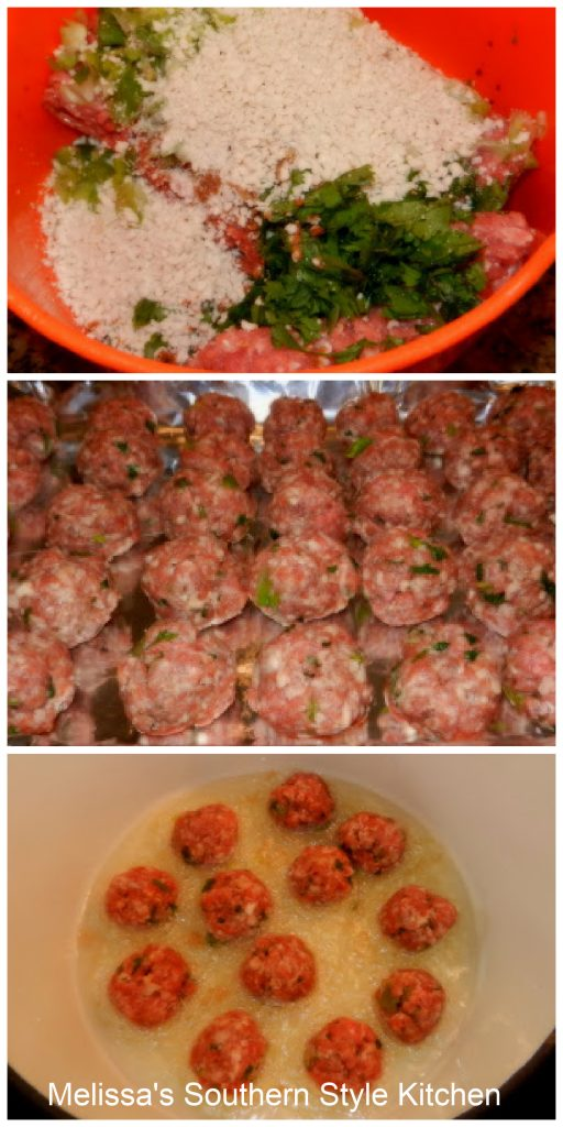 sausage, herbs, breadcrumbs and seasonings formed into meatballs on a pan