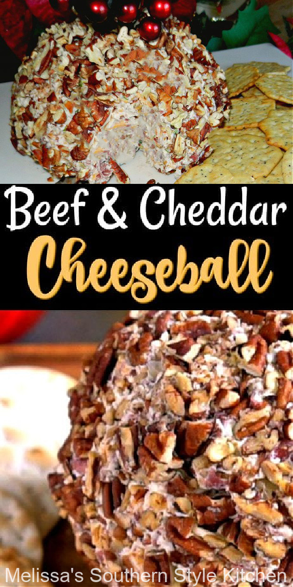 Beef and Cheddar Cheeseball is ideal for any occasion when delicious make-ahead starters are on the menu #beefandcheddarcheeseball #cheeseball #beefcheeseballreipes #holidayappetizers #easyappetizers #beef #footballsnacks #cheddarcheeseballs #easyrecipes #southernfood #southernrecipes