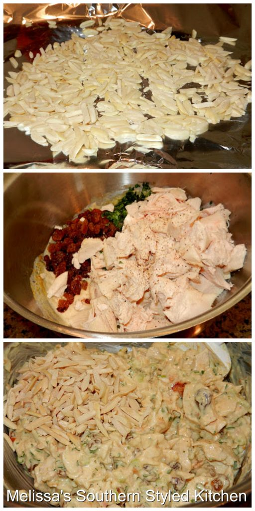 Step-by-step preparation images and ingredients for chicken salad