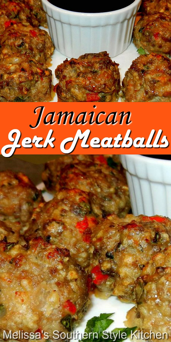 Enjoy these island inspired meatballs as an appetizer or an entree #jerkmeatballs #meatballs #meatballrecipes #jerkseasoning #pork #easygroundbeefrecipes #appetizers #dinner #dinnerideas #southernfood #southernrecipes
