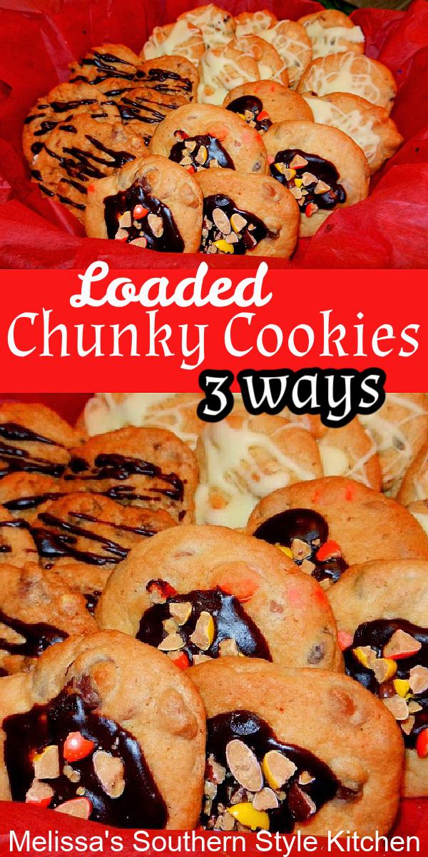 Make 3 different Loaded Chunky Cookies from ONE cookie dough! #chunkycookies #loadedchocolatechipcookies #loadedwhitechocolatecookies #reesescookies #bestcookierecipes #peanutbuttercookies #cookieswap #christmascookies #holidaybaking #cookies #bestcookierecipes
