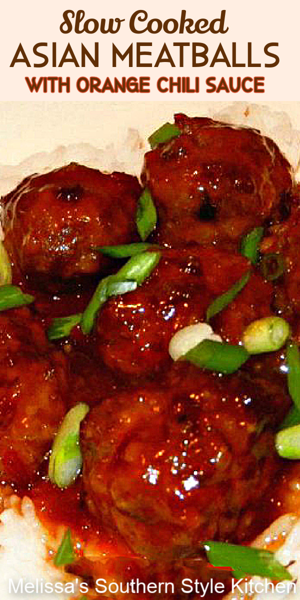 Simmer these flavorful Asian inspired meatballs in a homemade orange chili sauce in a slow cooker #meatballs #asianmeatballs #orangesauce ##meatballrecipes #slowcookerrecipes #easygroundbeefrecipes #dinnerideas #appetizerrecipes