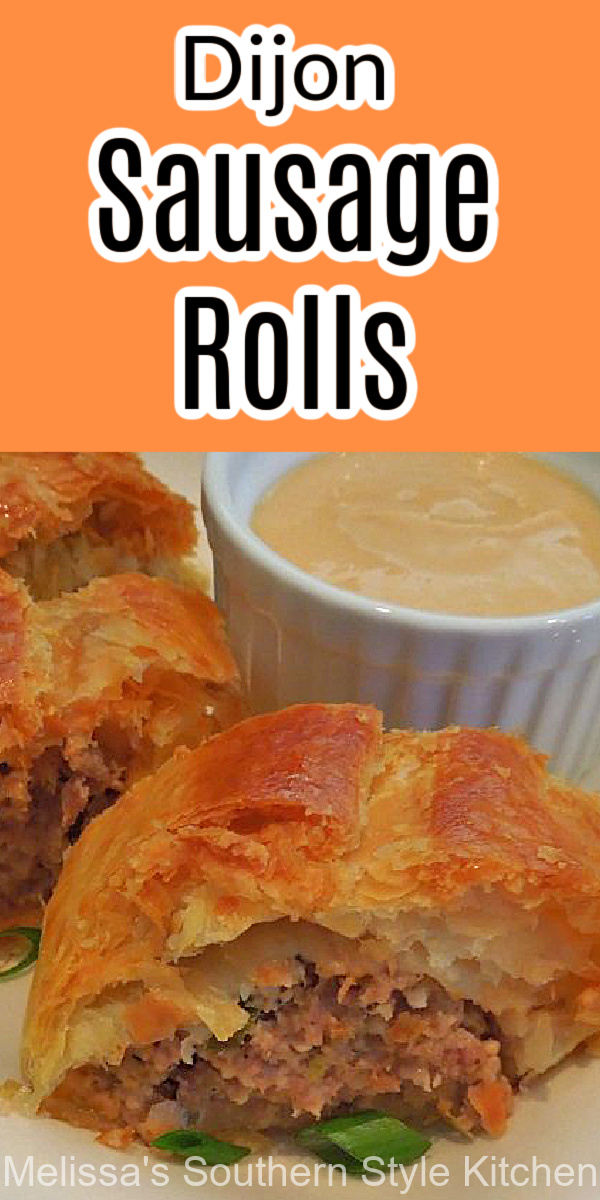 These Dijon Sausage Rolls are ideal as an appetizer, breakfast or brunch dish served with a side of Dijon mustard for dipping #sausagerolls #puffpastryrecipes #puffpastryrolls #dijonsausagerolls #breakfastrecipes #brunchrecipes #sausage