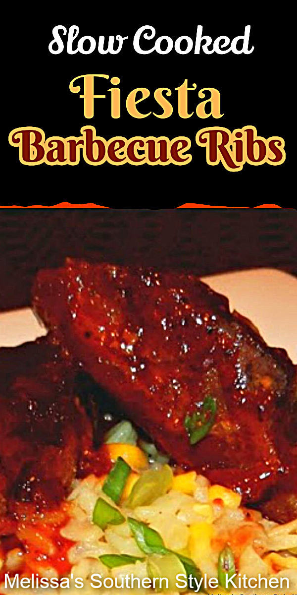 Simmer these country style Slow Cooked Fiesta Barbecue Ribs low and slow then serve on tortillas, kaiser rolls or a bed of rice as an entree. #slowcookedribs #countrystyleribs #barbecueribsrecipe #easyribs #southernrecipes #crockpotribs