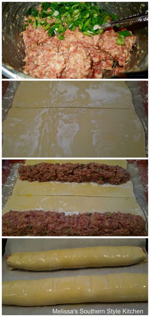 step-by-step images and ingredients to prepare sausage rolls