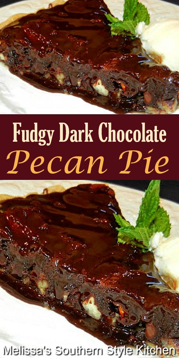 Chocolate fans will flip for this chocolate drizzled Dark Chocolate Pecan Pie #darkchocolate #chocolatepecanpie #pecanpie #chocolate #pierecipes #bestpierecipes #holidayrecipes #hbolidaydesserts #fallbaking #southernpecanpie #desserts #dessertfoodrecipes #southernfood #southernrecipes
