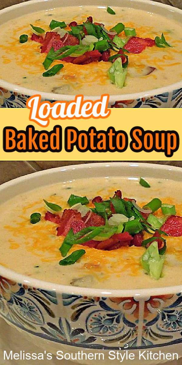This Loaded Baked Potato Soup is comfort food in a bowl #potatosoup #bakedpotatoes #potatorecipes #dinner #dinnerideas #chese #bacon #loadedbakedpotatoes #loadedpotatosoup #potatosouprecipe #southernfood #southernrecipes