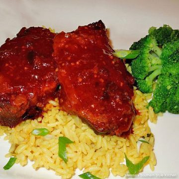 cooked Slow Cooked Spicy Peach Pork Chops