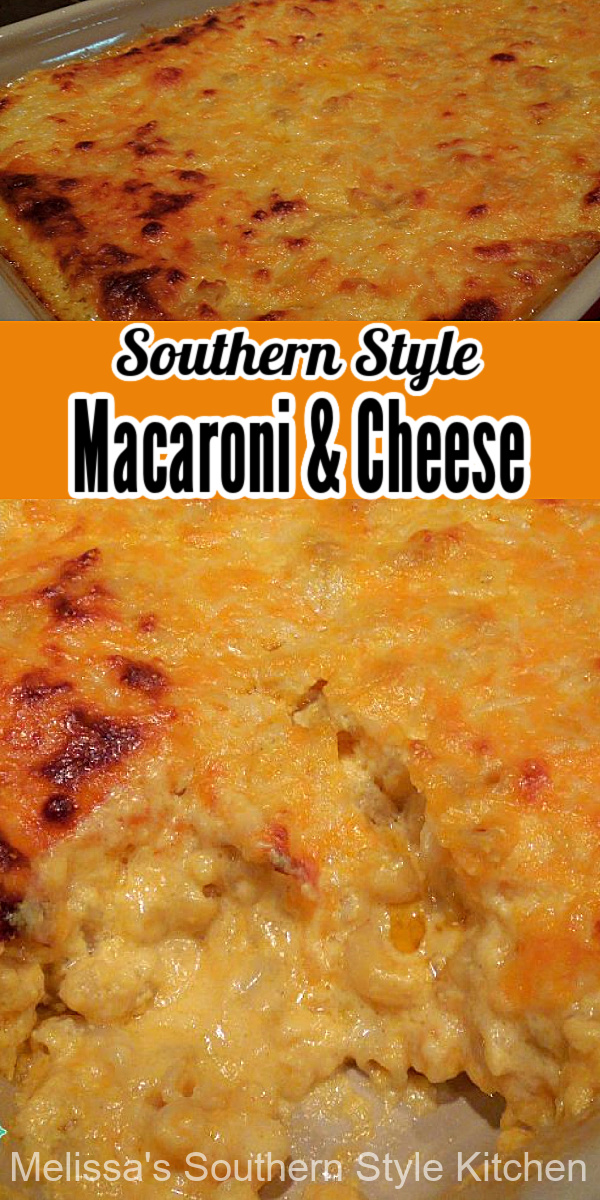 There's no wrong time of year to enjoy a heaping helping of this easy Southern Style Macaroni and Cheese #macaroniandcheese #cheddarcheese #macaroni #pasta #casseroles #macandcheese #holidaysidedishes #dinner #dinnerideas #southernfood #southernrecipes