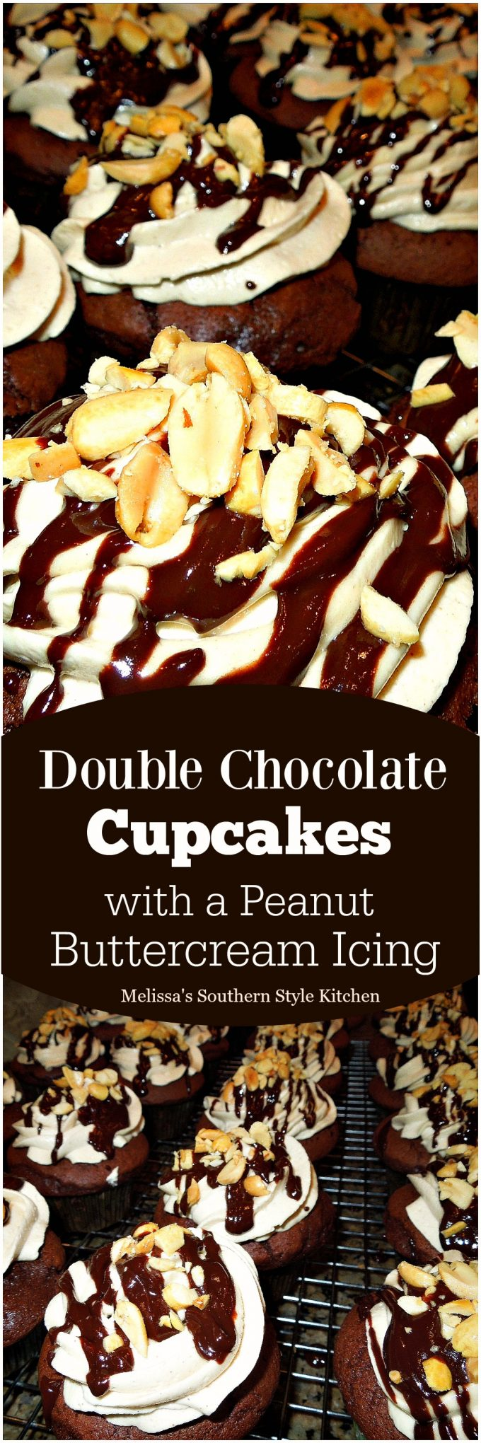 No one will ever know that these Double Chocolate Cupcakes frosted with a dreamy peanut buttercream icing are a cake mix hack #doublechocolatecupcakes #cupcakerecipe #peanutbuttercream #peanutbutterfrosting #peanutbutter #chocolatecake #cakemixhack