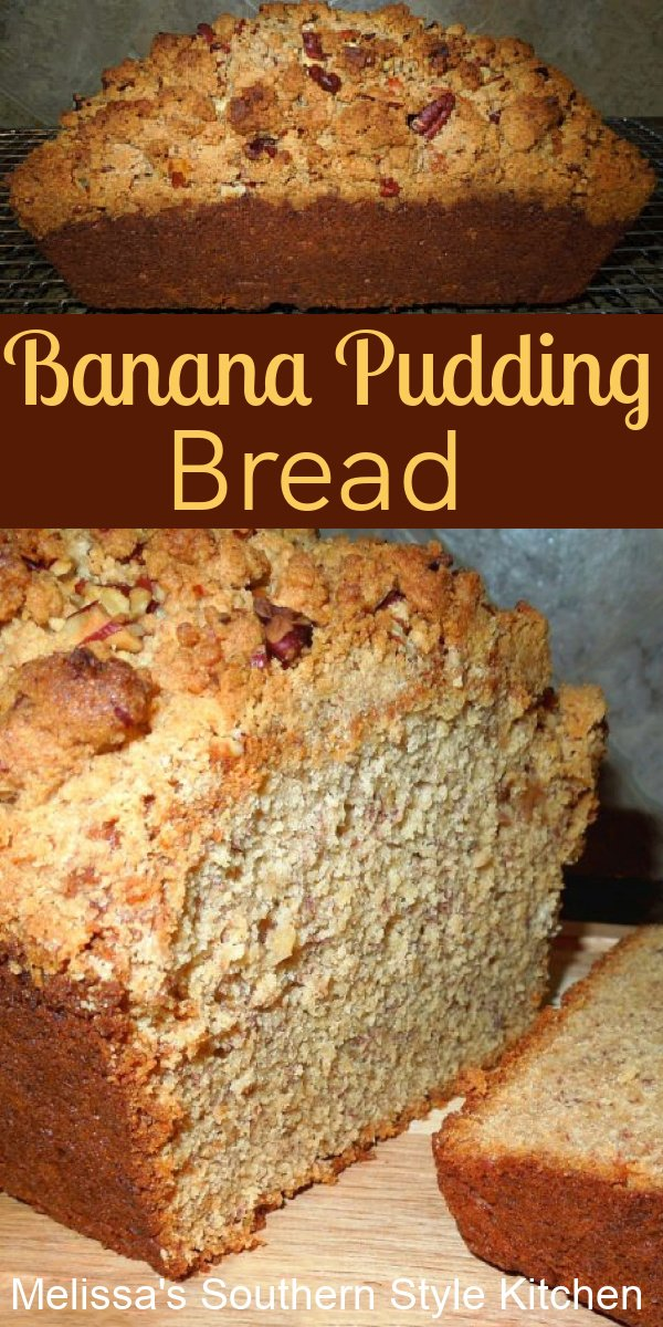 Two Southern favorites come together in this Banana Pudding Bread #bananapudding #bananabread #breadrecipes #bananas #desserts #brunchrecipes #bvreadrecipes #southernrecipes