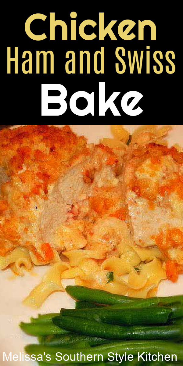 This Chicken Ham and Swiss Cheese Bake is a no fuss approach to making chicken cordon bleu turning it into a family-friendly casserole #chickencordonbleu #easychickenrecipes #chickenbreastrecipes #chicken #chickencasserole #casseroles #casserolerecipes #swisscheese #ham #leftoverhamrecipes