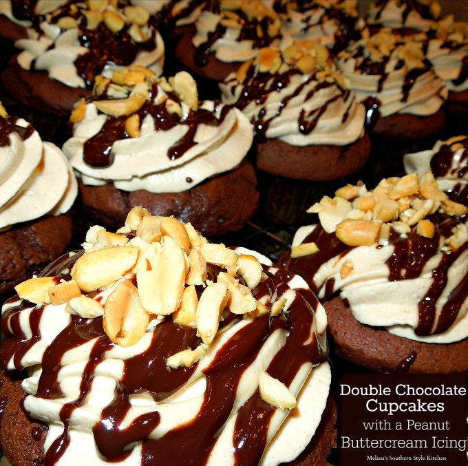Chocolate Cupcakes frosted with peanut buttercream icing