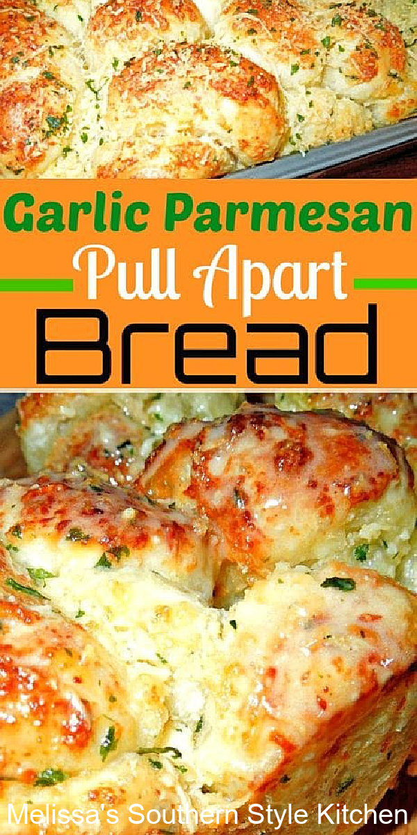 This easy buttery Garlic Parmesan Pull Apart Bread is impossible to resist #garlicbread #pullapartbread #breadrecipes #frozenbread #rolls #garlicbutter #southernrecipes #breads #bestbreadrecipes #garlicparmesanpullapartbread