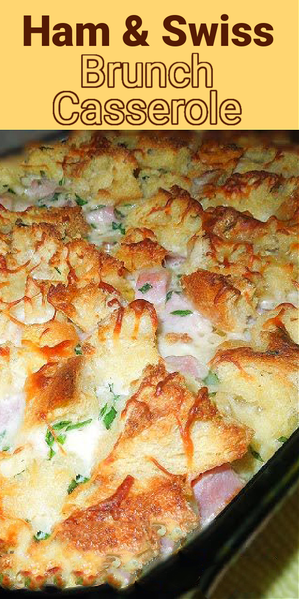 This overnight Ham and Swiss Brunch Casserole is amazing drizzled with pure maple syrup #hamandswiss #brunchbake #brunchrecipes #leftoverhamrecipes #ham #overnightcasseroles #breakfastcasseroles