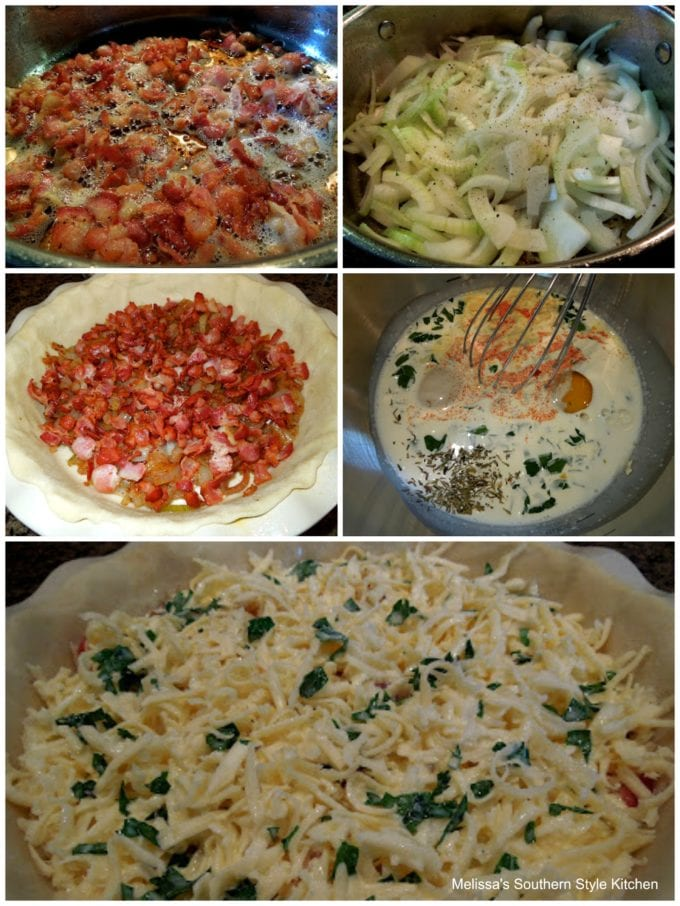 step-by-step images of ingredients to prepare bacon tart
