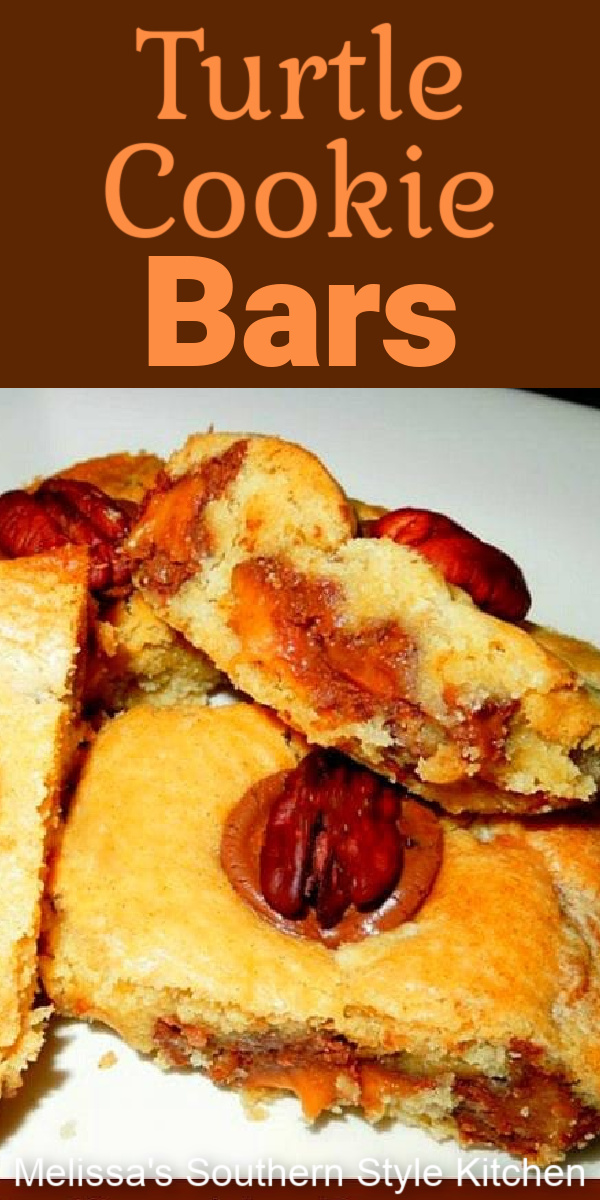Rolo candies stuffed inside a homemade buttery cookie batter, put the ooey gooey in these completely addictive Turtle Cookie Bars #turtlecookiebars #cookiebars #turtles #cookiebarrecipes #rolocandy #rolocookies #rolocookiebars