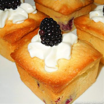 Southern style Blackberries and Cream Mini Pound Cakes