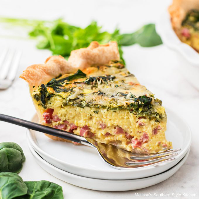Ham And Spinach Quiche Melissassouthernstylekitchen Com