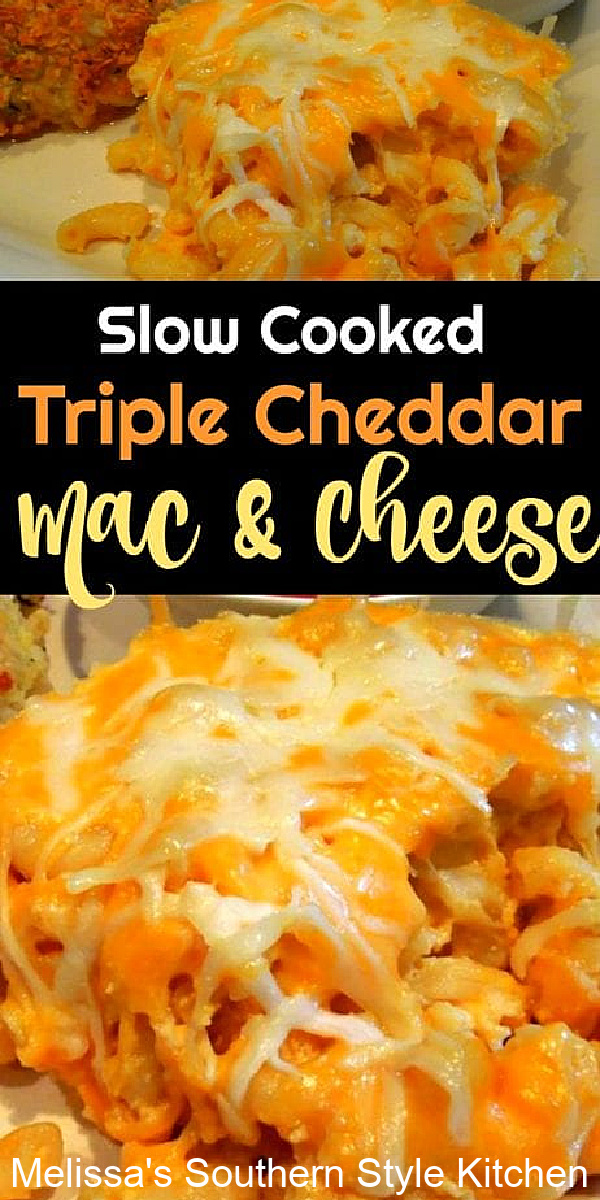 On busy oven days and during the holidays this Slow Cooked Triple Cheddar Mac and Cheese is a delicious side dish option #triplecheddarmacaroniandcheese #macandcheese #cheddarcheese #macandcheeserecipes #southernrecipes #casseroles #macaroni #pasta #sidedishrecipes