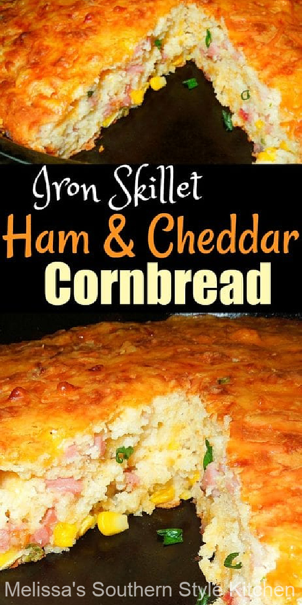 This Skillet Ham and Cheddar Cornbreadis ideal for dressing up a bowl of beans, soup or stew #cornbread #ham #cheddarcornbread #cornbreadrecipes #castironskillet #southerncornbreadrecipes #leftoverhamrecipes