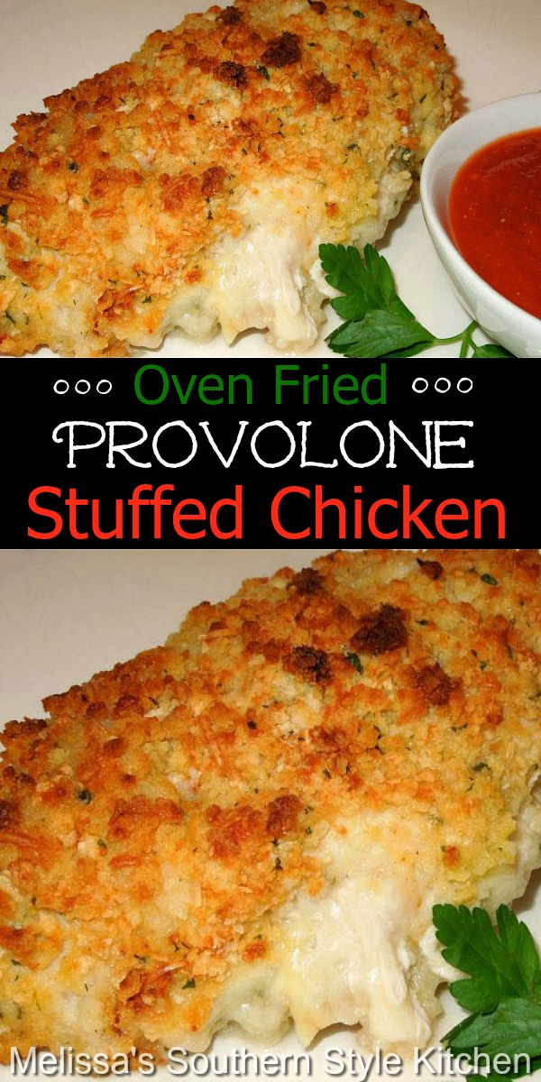 Serve these crispy provolone cheese stuffed chicken breasts with a side of pasta and marinara sauce #ovenfriedchicken #chickenbreastrecipes #easychickenrecipes #chickenbreasts #friedchicken #Italian #Italianchicken #dinner #dinnerideas #southernfood #southernrecipes