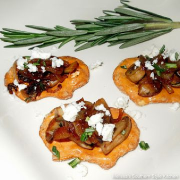 Caramelized Onion and Mushroom Canapes on pretzels