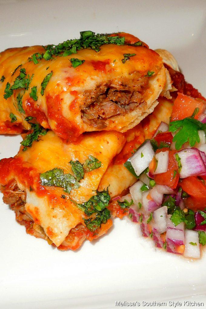 Shredded Beef Enchiladas on a plate