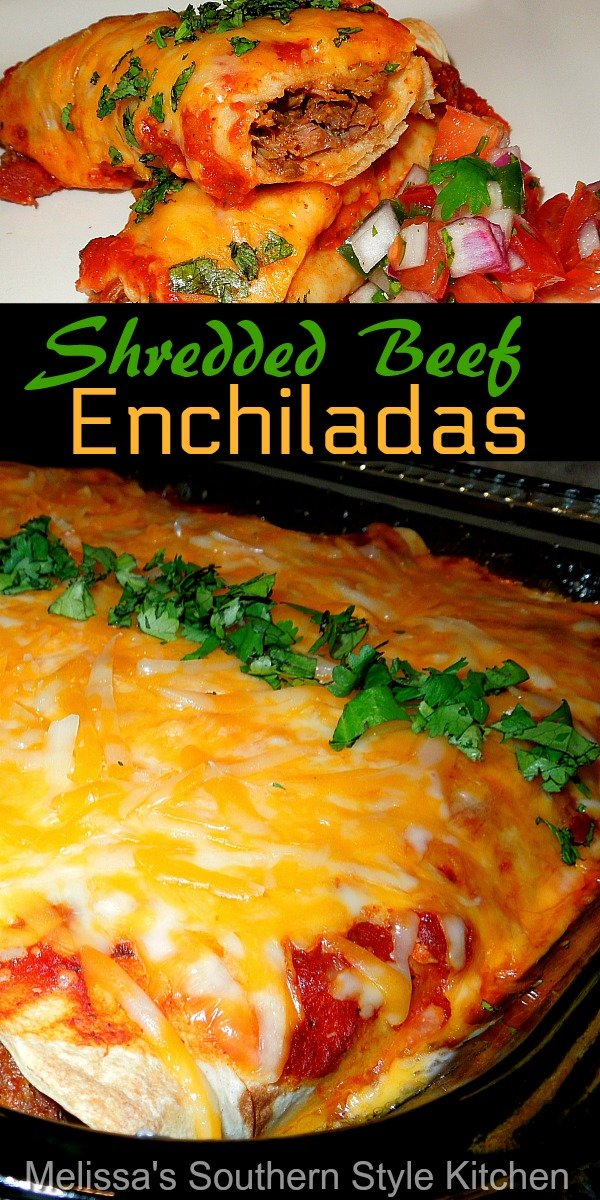 Turn pot roast into a round 2 meal with these kicked-up mouthwatering Shredded Beef Enchiladas #enchiladas #beefrecipes #beefenchiladas #enchiladarecipes #dinner #dinnerdieas #southernfood #southernrecipes #mexicanfood #easybeefrecipes #mexican #mexicanfood