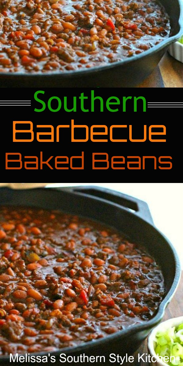 Serve these flavorful Southern Barbecue Baked Beans alongside your summer grilling favorites #bakedbeans #Southernbakedbeans #Beans #porkandbeans #sidedishrecipes #barbecuerecipes #southernfood #southernrecipes #picnicrecipes