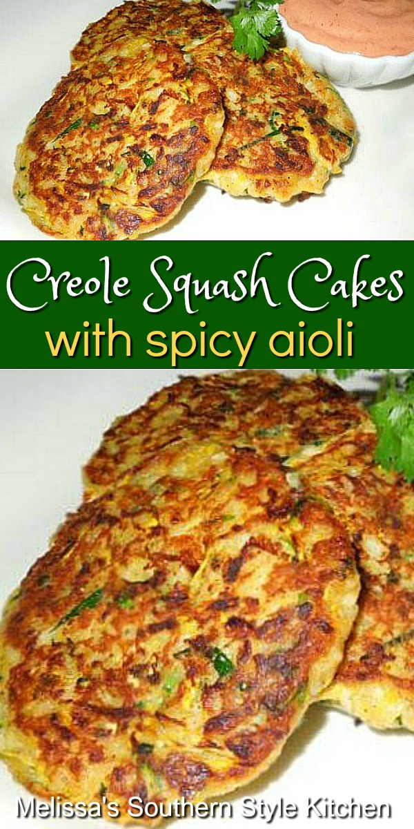 Turn summer squash and zucchini into a farmstand rock star with these Creole Squash Cakes with Spicy Aioli #squash #squashcakes #summersquash #cajun #creole #cakes #sidedishrecipes #gardenflavors #squashrecipes #southernfood #southernrecipes