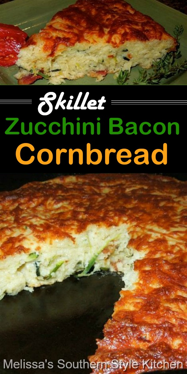 The addition of fresh zucchini and bacon takes classic skillet baked cornbread to another level of flavor #cornbread #baconcornbread #zucchini #zucchinirecipes #freshzucchini #cornbreadrecipes #bacon #southerncornbread #southernfood #southernrecipes