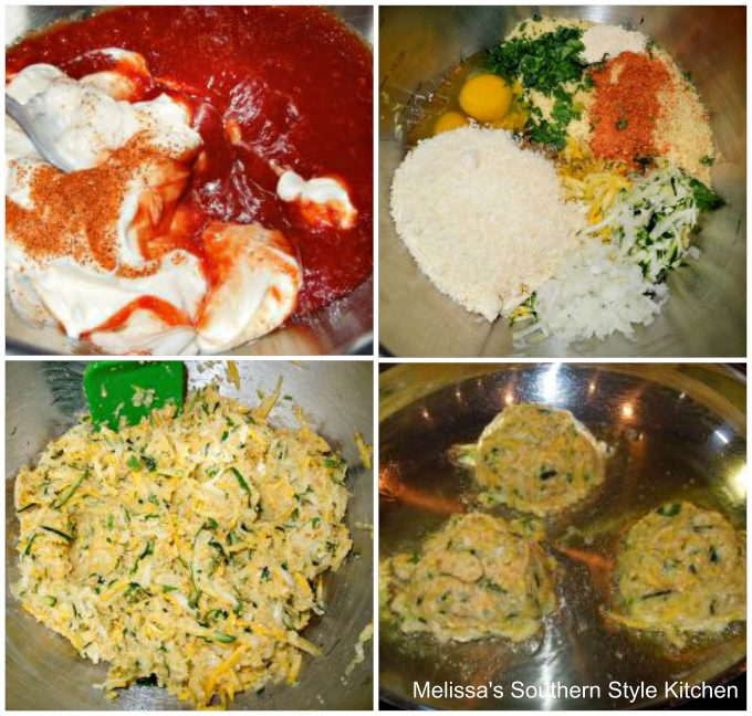 Step-by-step preparation images and ingredients for squash cakes
