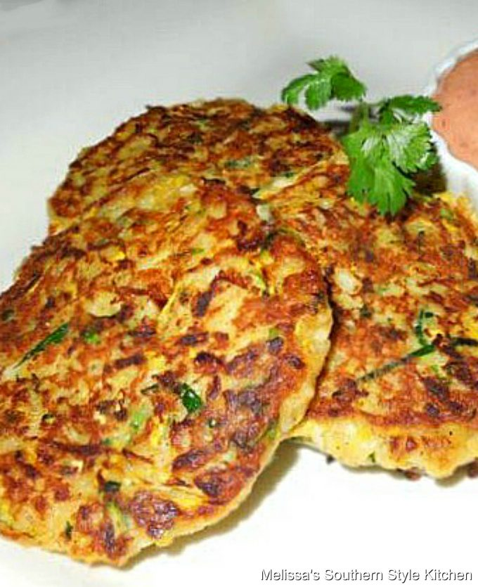 Creole Squash Cakes with Spicy Aioli on a plate