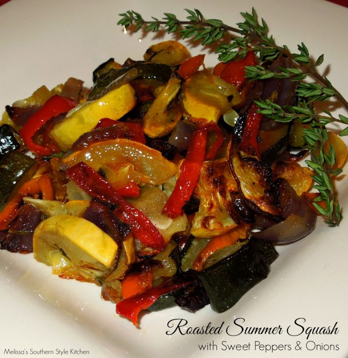 Roasted squash and peppers on a plate