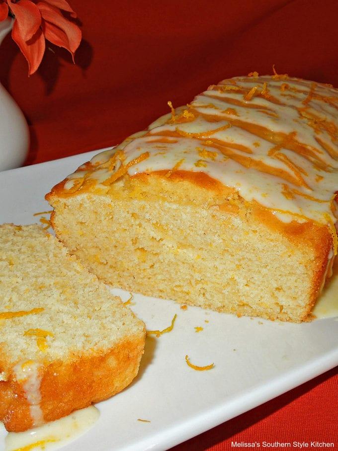 baked cake loaf on a platter