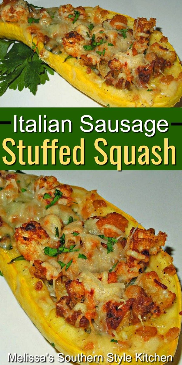 You can enjoy this Italian Sausage Stuffed Summer Squash as a side dish or an entree #summersquash #yellowsquash #squashrecipes #Italiansausage #sausagerecipes #sausage #dinnerideas #sidedish #southernfood #southernrecipes