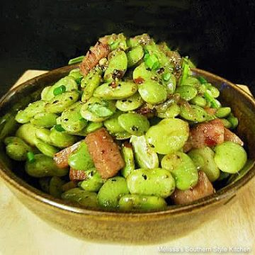 Brown Butter Baby Lima Beans and Ham