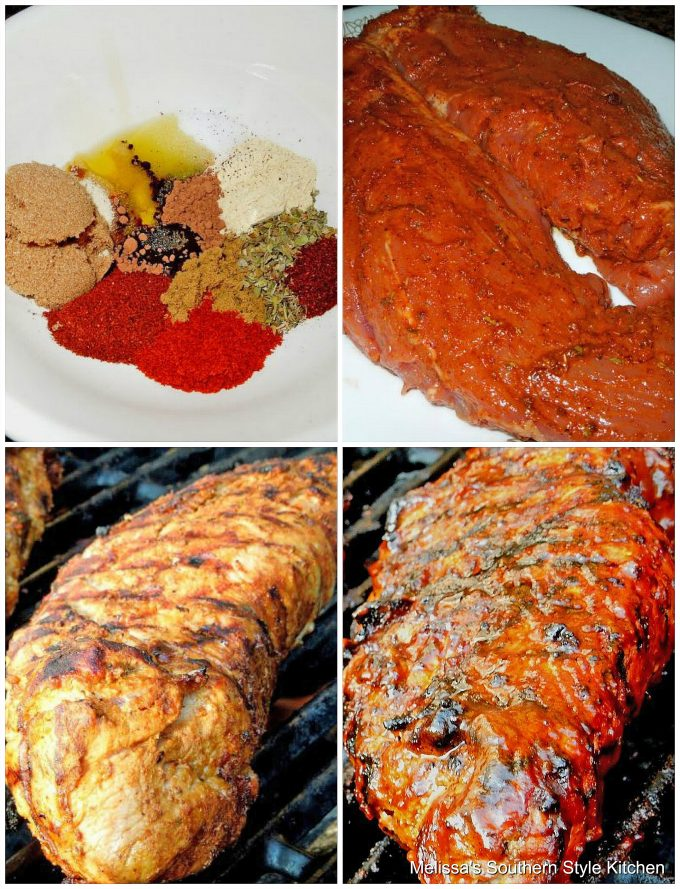 Step-by-step preparation images and ingredients for pork tenderloin on the grill