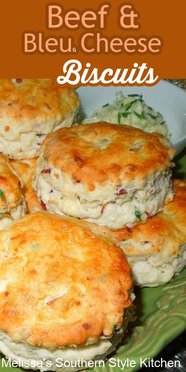 Take the house bread of the South up a notch with this recipe for Beef and Bleu Cheese Biscuits #biscuits #southernbiscuits #buttermilkbiscuits #beef #bleucheese #gorgonzolacheese #breakfast #breadrecipes #brunch #teaparty #southernrecipes #southernfood #melissassouthernstylekitchen #holidaybrunch #holidays