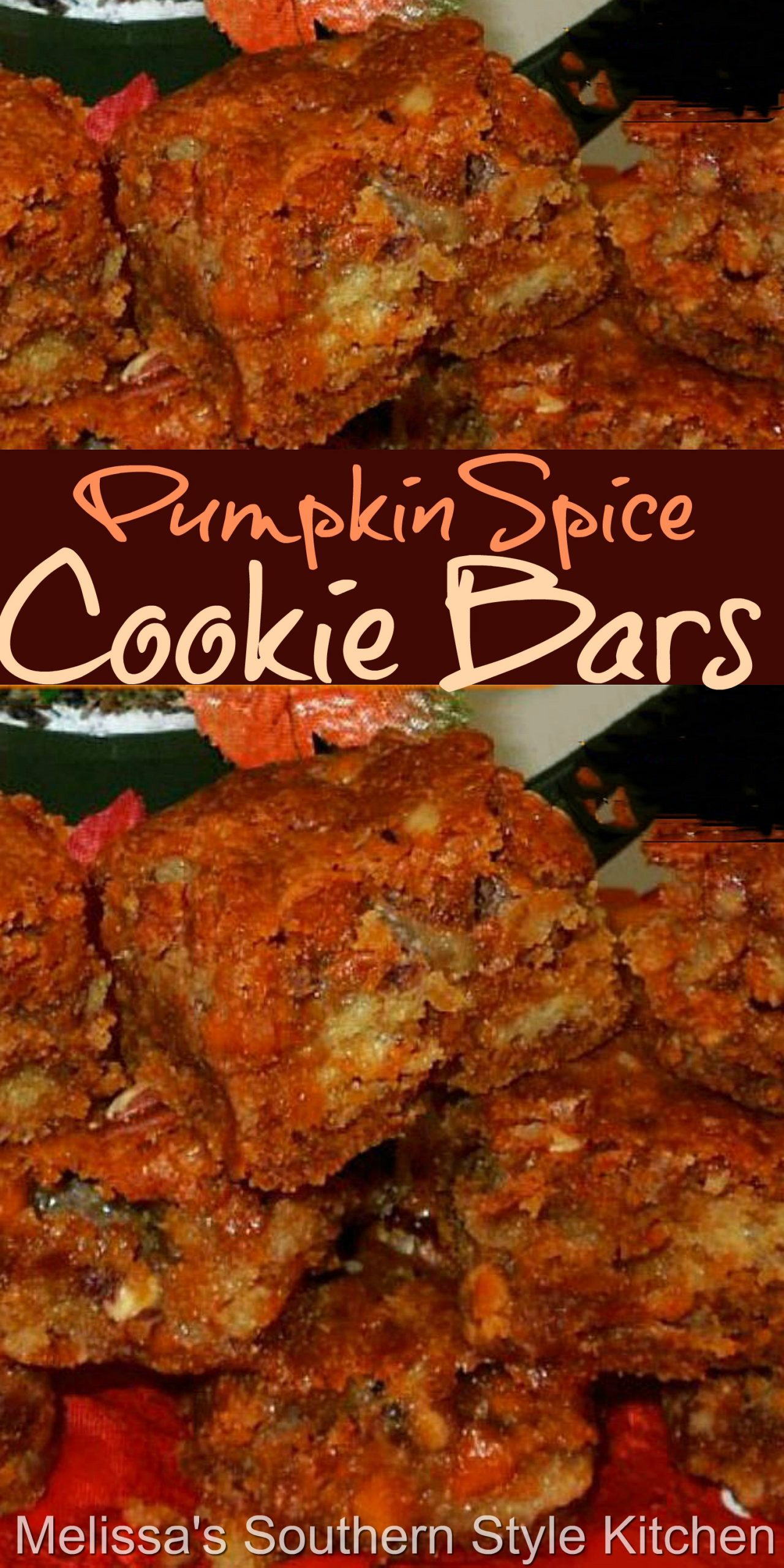 These seasonal cookie bars are filled with butterscotch chips and toasted pecans #pumpkinspice #pumpkin #butterscotchbars #pumpkinspikcecookiebars #pumpkinrecipes #barrecipes #fallbaking #butterscotch #thanksgivingdesserts #holidaybaking #desserts #dessertfoodrecipes #southernfood #southernrecipes