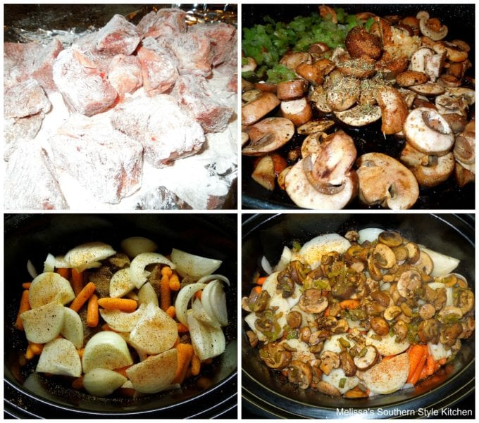 stew beef and vegetables in a slow cooker