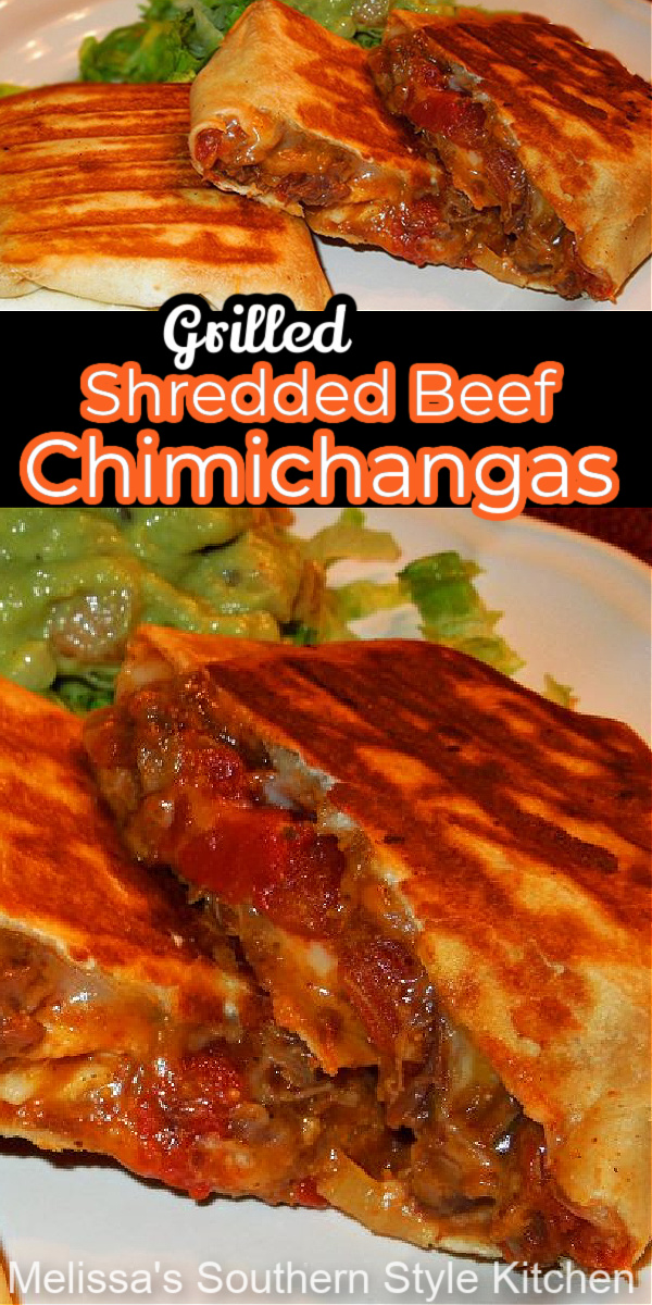 Turn leftover pot roast into these incredibly delicious Grilled Shredded Beef Chimichangas #chimichangas #beef #potroast #beefchimichanges #shreddedbeef #mexicanfood #dinnerideas #southernrecipes