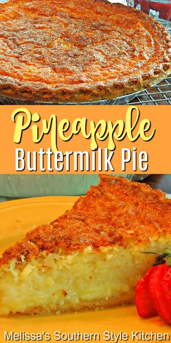 Enjoy a big piece of this Southern classic with a pineapple twist #pineapplepie #pineapplebuttermilkpie #southernbuttermilkpie #buttermilkpie #pierecipes #southerndesserts #pierecipes #southernfood #southernrecipes #fallbaking #holidaybaking #thanksgiving