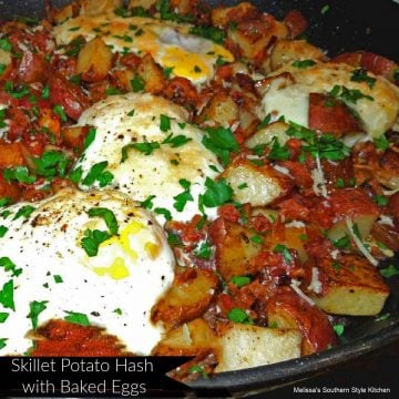 Skillet Potato Hash with Baked Eggs
