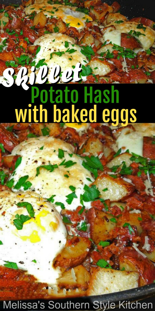 Serve this hearty and filling Skillet Potato Hash with Baked Eggs for breakfast, brunch or dinner #potatohash #bakedeggs #eggs #eggrecipes #potatoes #breakfast #brunch #dinner #lunch #southernfood #southernrecipes #holidaybrunch #christmasbrunch #easterbrunch