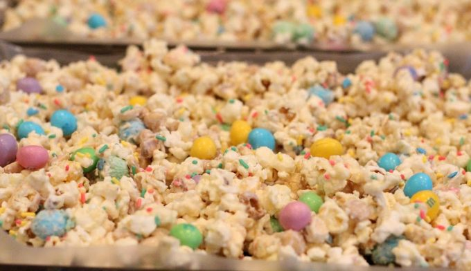 Candy coated popcorn with sprinkles and peanut M and M's for Easter