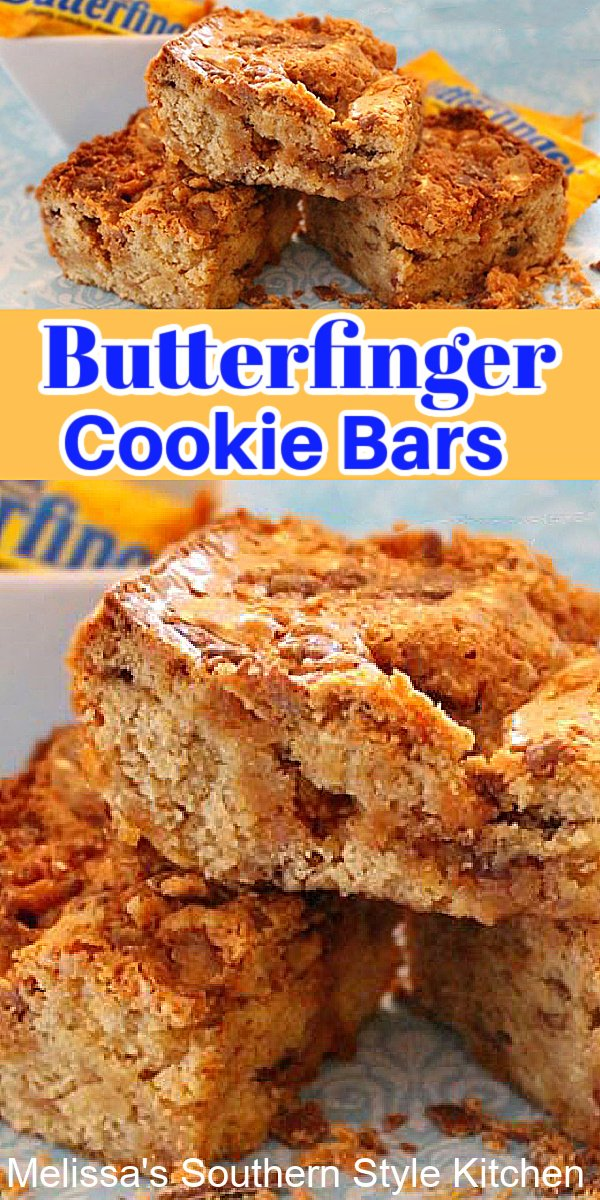 Make these rich and buttery Butterfinger cookie bars and watch 'em disappear #cookiebars #butterfingercookiebars #candybars #butterfingers #holidayrecipes #holidaybaking #christmascookies #desserts #dessertfoodrecipes #butterfingerbars #southernfood #southernrecipes