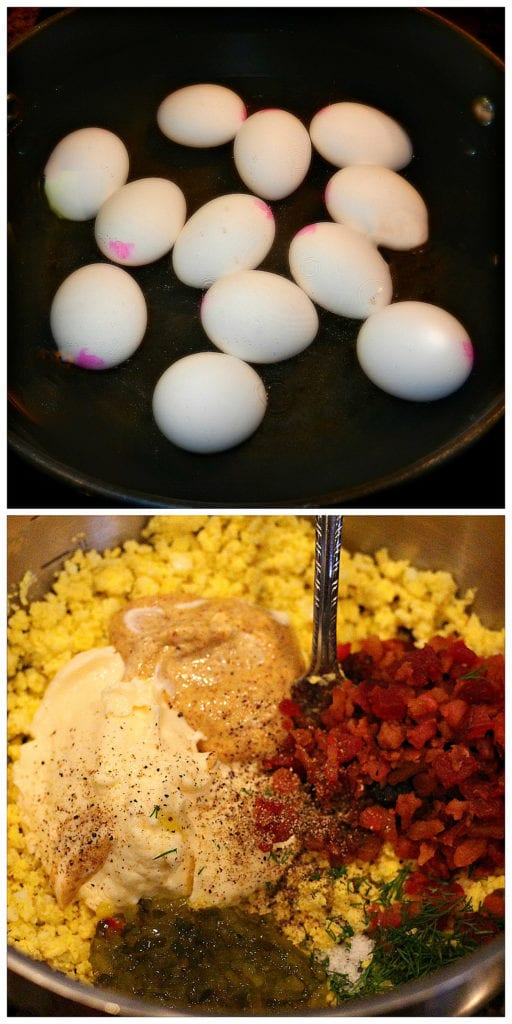 Step-by-step pictures of preparation and ingredients for egg salad