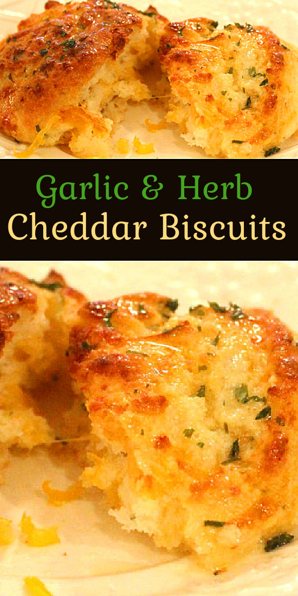 If you love Red Lobster's Cheddar Bay biscuits you'll flip for these Garlic and Herb Cheddar Biscuits #cheddarbiscuits #dropbiscuits #cheesebiscuits #biscuitrecipes #southernfood #southernrecipes #copycat #copycatredlobsterbiscuits #cheddarbaybiscuits